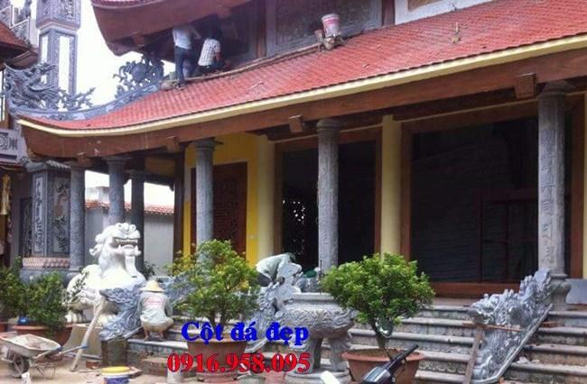 Mẫu cột đá đồng trụ nhà thờ họ đình đền chùa miếu bằng đá tại Cà Mau