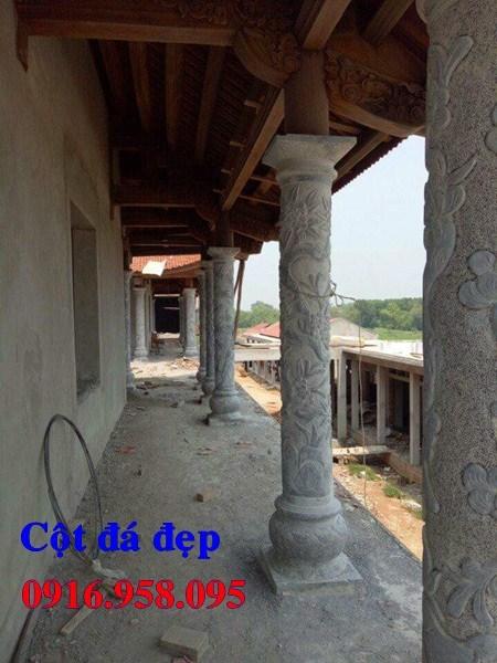 Mẫu cột đá đồng trụ nhà thờ họ đình đền chùa miếu bằng đá thiết kế cơ bản tại Cà Mau