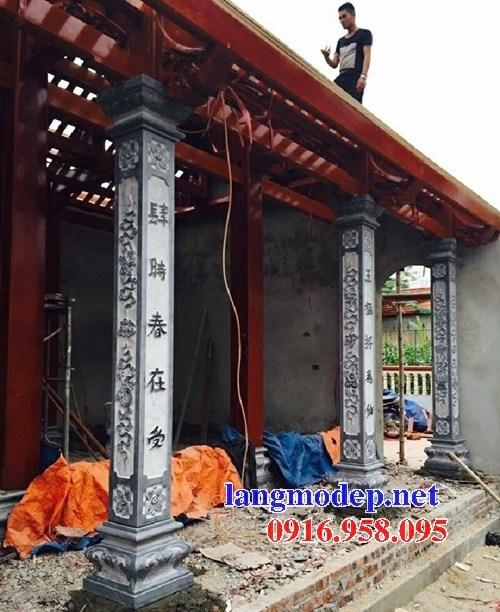 Mẫu cột đá đồng trụ nhà thờ họ đình đền chùa miếu bằng đá thiết kế cơ bản tại Trà Vinh