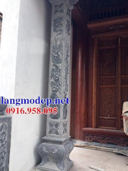 Mẫu cột đá đồng trụ nhà thờ họ đình đền chùa miếu bằng đá xanh Thanh Hóa tại Bắc Kạn