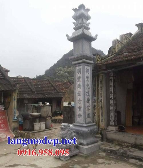 Mẫu cột đá đồng trụ nhà thờ họ đình đền chùa miếu bằng đá xanh tại Bắc Kạn