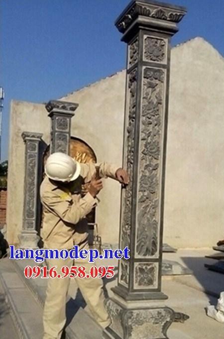 Mẫu cột đá đồng trụ nhà thờ họ đình đền chùa miếu bằng đá xanh tại Trà Vinh