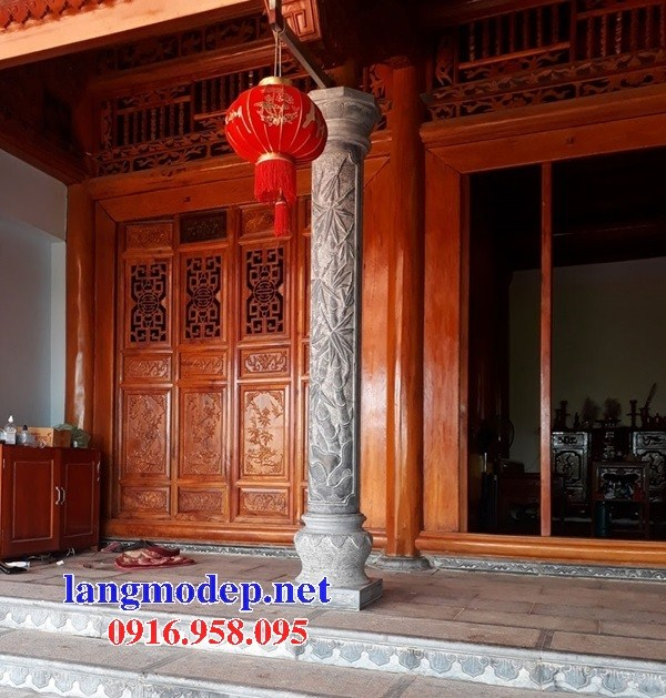 Mẫu cột đá đồng trụ nhà thờ họ đình chùa miếu bằng đá chạm trổ tứ quý tại Sóc Trăng