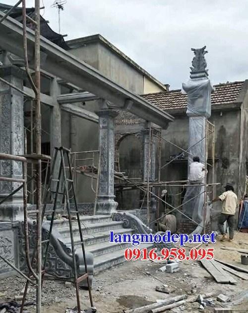 Mẫu cột đá đồng trụ nhà thờ họ đình chùa miếu bằng đá nguyên khối tại Sóc Trăng