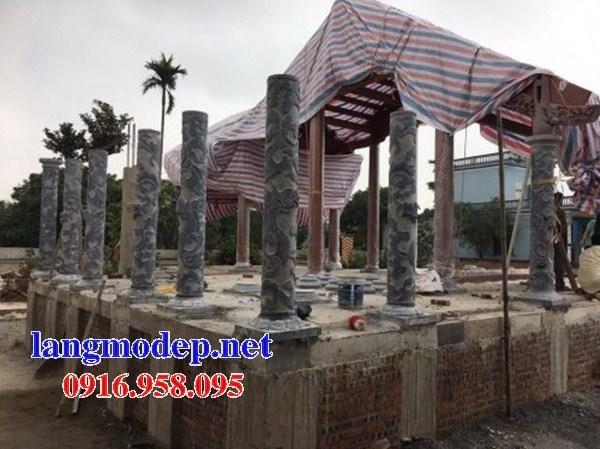 Mẫu cột đá đồng trụ nhà thờ họ đình chùa miếu bằng đá thiết kế đẹp tại Long An