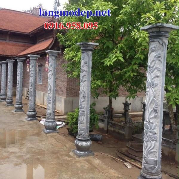 Mẫu cột đá đồng trụ nhà thờ họ bằng đá điêu khắc tinh xảo tại Long An