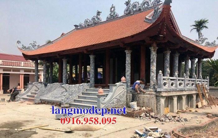 Mẫu cột đá đồng trụ nhà thờ họ bằng đá tại Ninh Bình