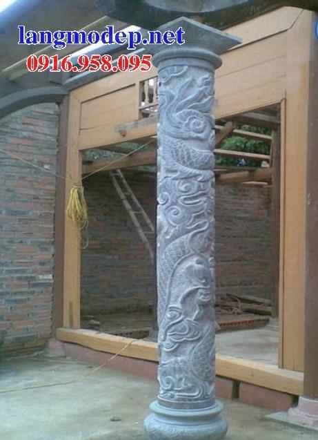 Mẫu cột đá đồng trụ nhà thờ họ chùa miếu bằng đá điêu khắc rồng phượng tại Ninh Bình