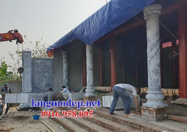 Mẫu cột đá đồng trụ nhà thờ họ chùa miếu bằng đá chạm trổ tứ quý tại Ninh Bình