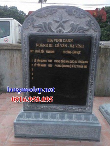Mẫu bia ghi công danh công đức nhà thờ họ từ đường đình đền chùa miếu bằng đá xanh tại Đồng Tháp