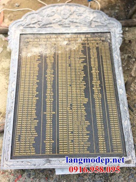 Mẫu bia ghi công danh công đức nhà thờ họ từ đường đình đền chùa miếu bằng đákích thước chuẩn phong thủy tại Đồng Tháp