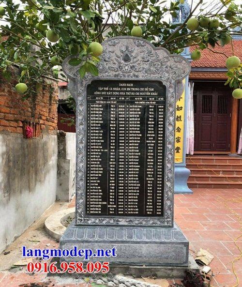 Mẫu bia ghi công danh nhà thờ họ từ đường đình đền chùa miếu bằng đá tại Cần Thơ