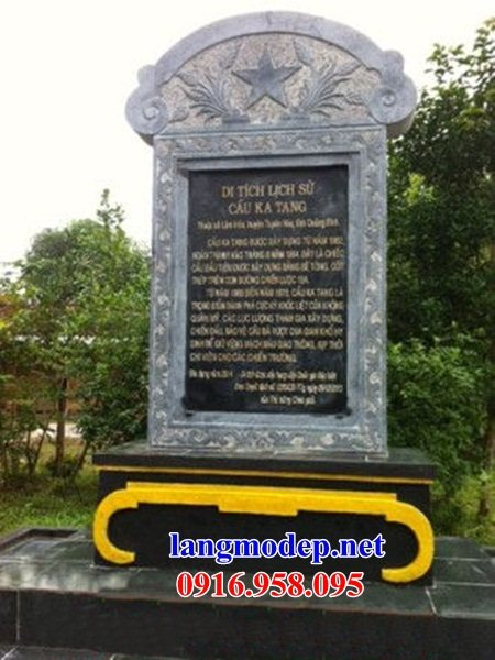 Mẫu bia ghi danh khu di tích đình đền chùa bằng đá mỹ nghệ tại Cao Bằng