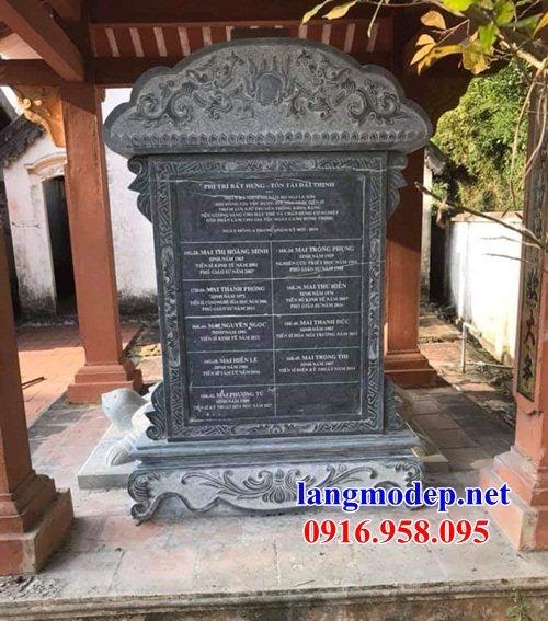 Mẫu bia ghi danh rùa đội bia đình chùa miếu nhà thờ họ bằng đá xanh tại Tiền Giang