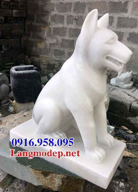 Mẫu chó đình đền chùa miếu bằng đá trắng tại Cà Mau