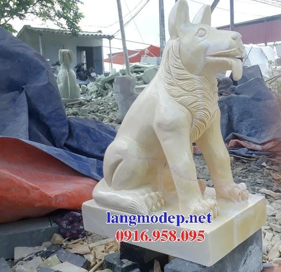 Mẫu chó nhà thờ tư gia đình đền chùa miếu bằng đá vàng cao cấp tại Cao Bằng