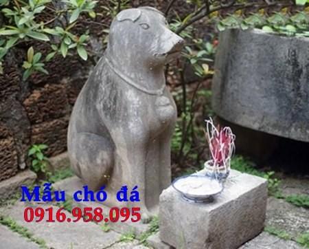 Mẫu chó tư gia đình đền chùa miếu bằng đá tại Bến Tre