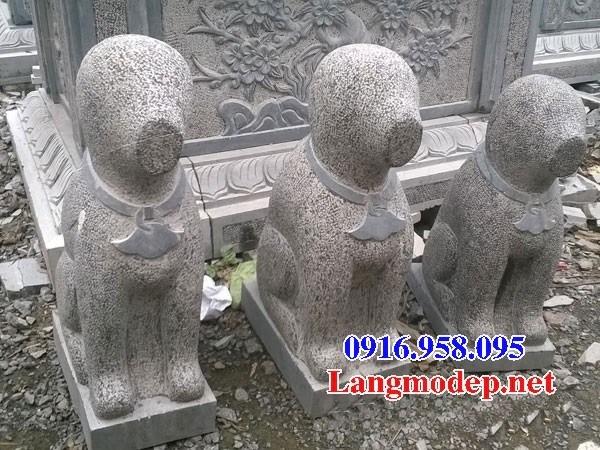 Mẫu chó tư gia nhà thờ họ đình đền chùa miếu bằng đá nguyên khối tại Kiên Giang