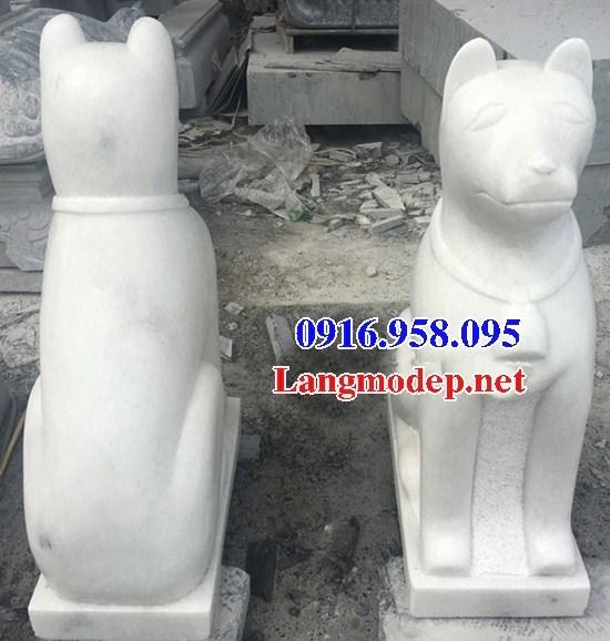 Mẫu chó tư gia nhà thờ họ đình đền chùa miếu bằng đá trắng tự nhiên tại Tiền Giang