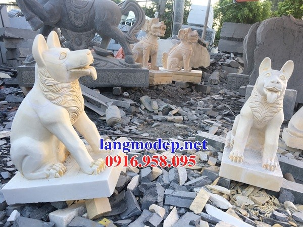 Mẫu chó tư gia nhà thờ họ đình đền chùa miếu bằng đá vàng cao cấp tại Kiên Giang