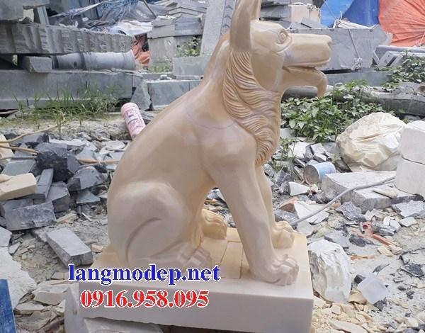 Mẫu chó tư gia nhà thờ họ đình đền chùa miếu bằng đá vàng cao cấp tại Tiền Giang