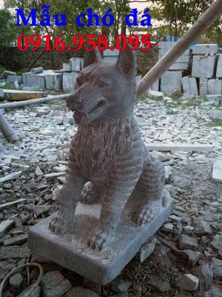 Mẫu chó tư gia từ đường đình đền chùa miếu bằng đá chạm khắc tinh xảo tại Trà Vinh