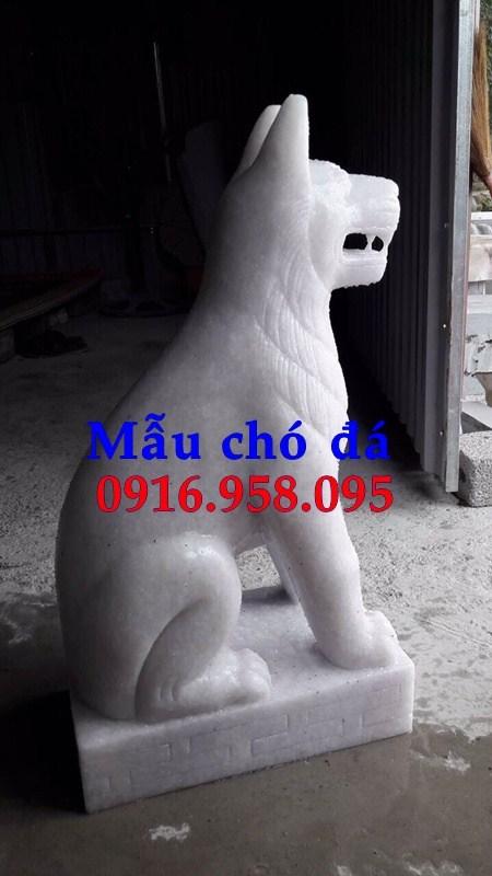 Mẫu chó tư gia từ đường đình đền chùa miếu bằng đá trắng cao cấp tại Trà Vinh