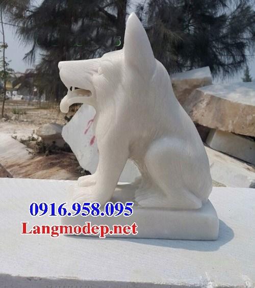Mẫu chó tư gia từ đường đình đền chùa miếu bằng đá trắng tự nhiên tại Ninh Bình