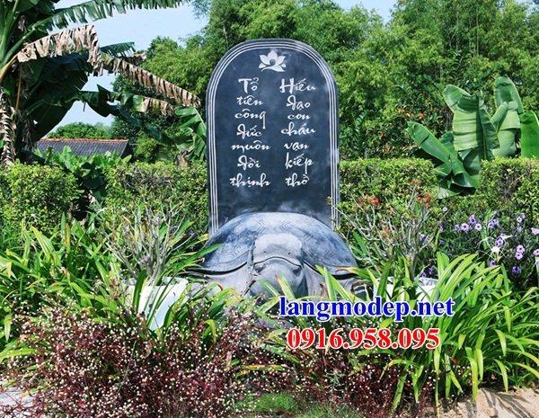 Mẫu rùa đội bia ghi công danh nhà thờ họ từ đường đình đền chùa miếu bằng đá xanh tại Cần Thơ