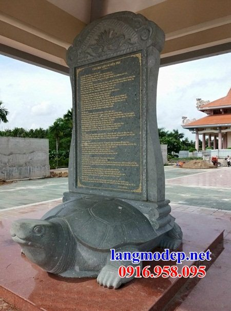 Mẫu rùa đội bia khu di tích đình chùa miếu nhà thờ họ bằng đá nguyên khối tại Tiền Giang