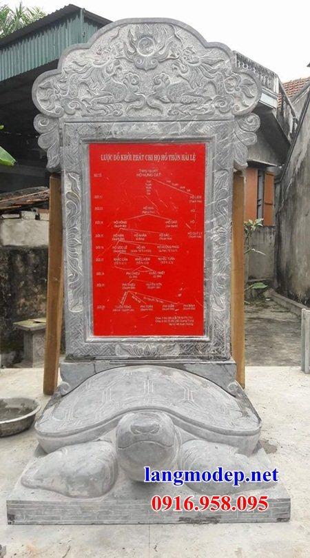 Mẫu rùa cõng bia ghi công danh từ đường bằng đá chạm khắc tinh xảo tại An Giang