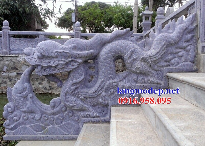 Mẫu rồng bậc thềm từ đường nhà thờ họ đình đền chùa miếu bằng đá tự nhiên tại Tiền Giang