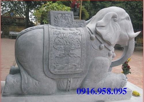 Mẫu voi phong thủy đình đền chùa miếu bằng đá tại Kiên Giang