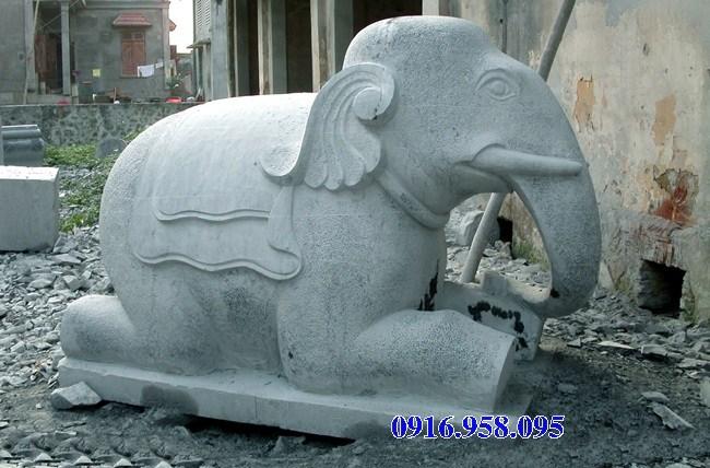 Mẫu voi phong thủy hà thờ họ từ đường đình đền chùa miếu bằng đá kích thước chuẩn phong thủy tại Cao Bằng