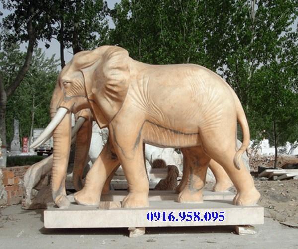 Mẫu voi phong thủy hà thờ họ từ đường đình đền chùa miếu bằng đá vàng tại Cao Bằng