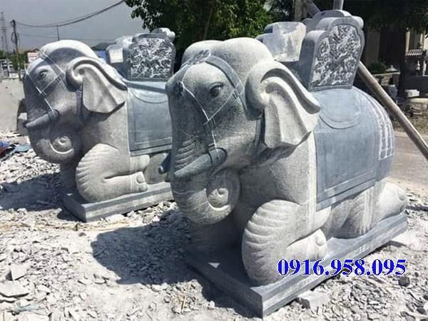Mẫu voi phong thủy nhà thờ họ đình đền chùa miếu bằng đá tại Kiên Giang