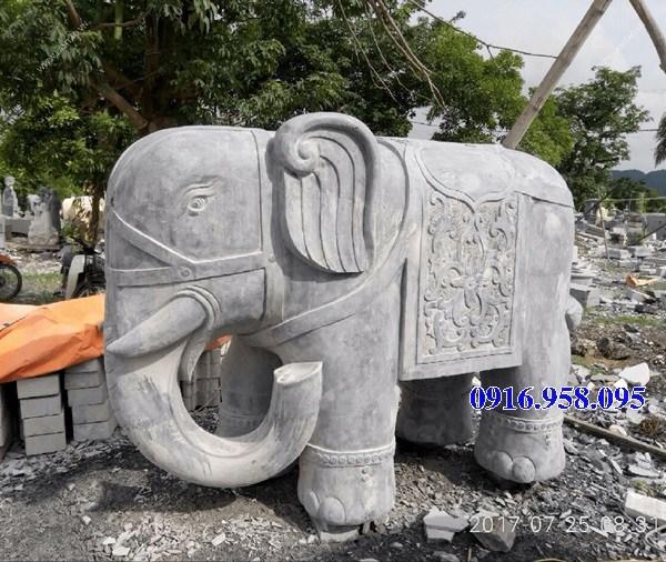Mẫu voi phong thủy nhà thờ họ từ đường đình đền chùa miếu bằng đá chạm khắc tinh xảo tại Đồng Tháp