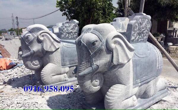 Mẫu voi phong thủy nhà thờ họ từ đường đình đền chùa miếu bằng đá tự nhiên tại Tiền Giang