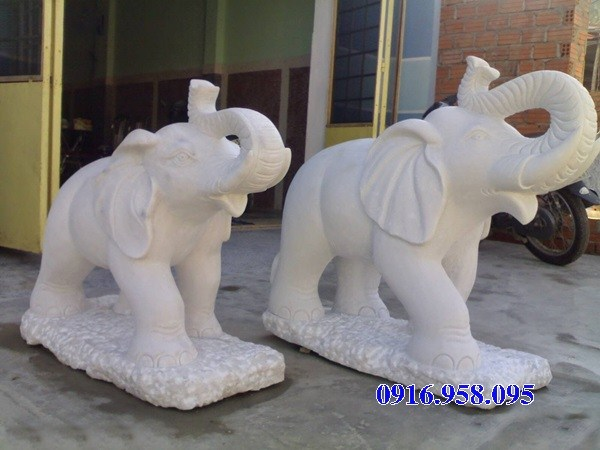 Mẫu voi phong thủy nhà thờ họ từ đường đình đền chùa miếu bằng đá trắng tại Đồng Tháp