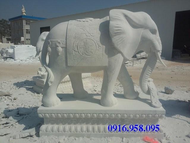 Mẫu voi phong thủy nhà thờ họ từ đường đình đền chùa miếu bằng đá trắng tại Tiền Giang