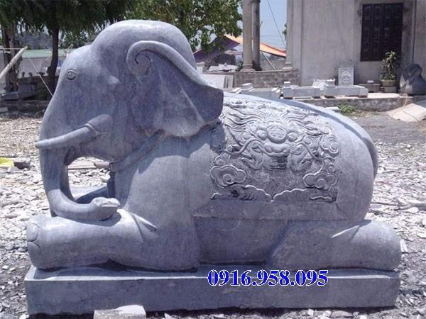Mẫu voi phong thủy nhà thờ họ từ đường đình đền chùa miếu bằng đá xanh tại Đồng Tháp