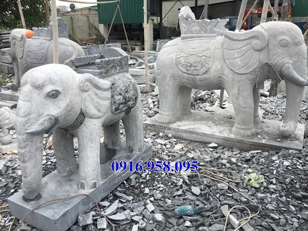 Mẫu voi phong thủy nhà thờ họ từ đường đình đền chùa miếu khu lăng mộ bằng đá tại Hậu Giang