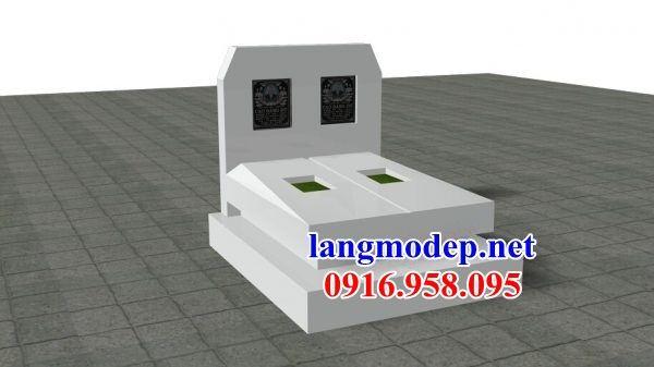 Mẫu hình ảnh thiết kế mộ đôi gia đình không mái bằng đá trắng cao cấp bán tại Tiền Giang