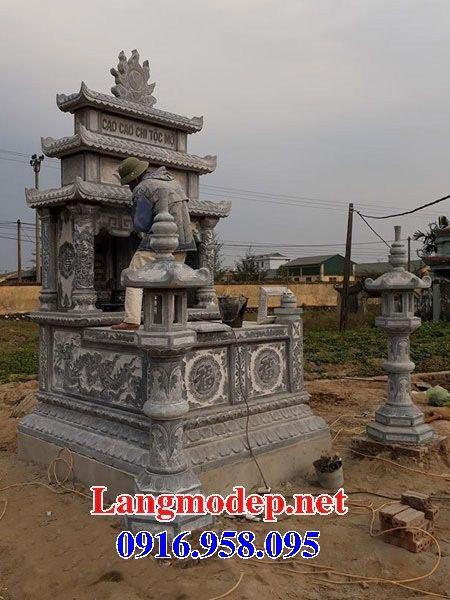 Mẫu mộ đôi gia đình ba mái bằng đá điêu khắc long phụng tại Đồng Nai