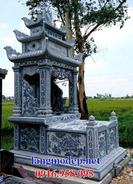 Mẫu mộ đôi gia đình ba mái bằng đá điêu khắc long phụng tại Đồng Tháp