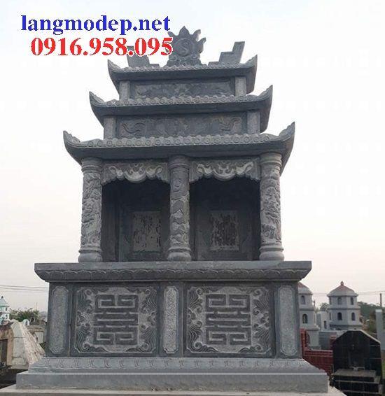 Mẫu mộ đôi gia đình ba mái bằng đá kích thước chuẩn phong thủy bán tại Bình Phước