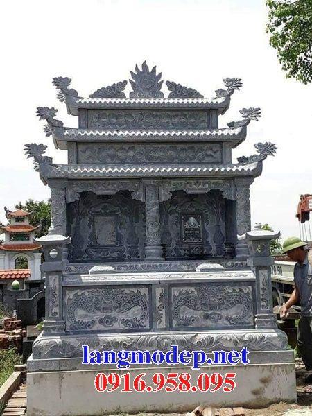 Mẫu mộ đôi gia đình ba mái bằng đá kích thước chuẩn phong thủy tại An Giang