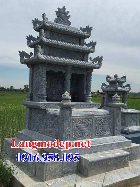 Mẫu mộ đôi gia đình ba mái bằng đá mỹ nghệ Ninh Bình tại Bắc Kạn