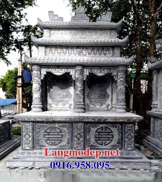 Mẫu mộ đôi gia đình ba mái bằng đá thiết kế hiện đại tại Đồng Tháp