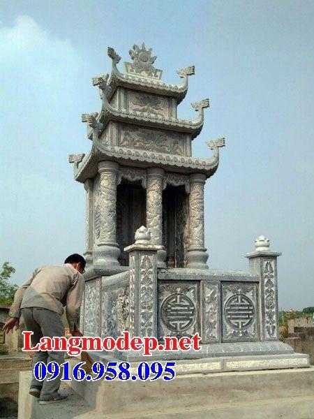 Mẫu mộ đôi gia đình ba mái bằng đá thiết kế hiện đại tại Kiên Giang